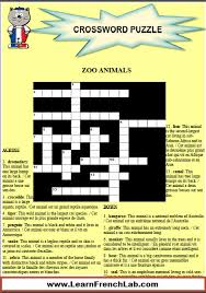 learn zoo animals in french with this free printable crossword