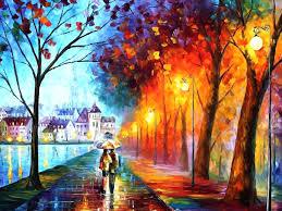 Paint Colorful - couple rain umbrella rain painting colorful artworks