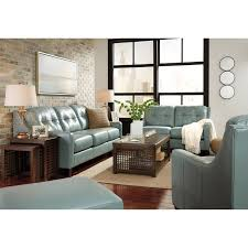 Tufted Living Room Set Contemporary Leather Match Loveseat With Tufted Back U0026 Track Arms