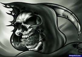 how to draw a grim reaper skull by skulls pop