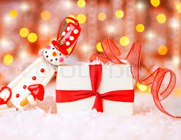 holiday background with cute snowman christmas tree decorative