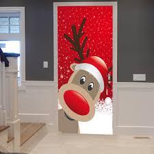christmas deer pattern door stickers red cm pcs in door