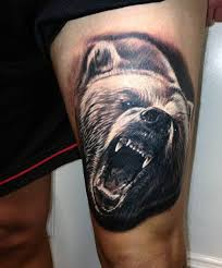 men thigh with amazing bear face tattoo golfian com
