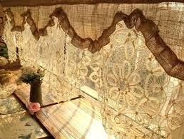 Antique Lace Curtains Burlap Curtains For Rustic Homes Custom Antique Lace Valance