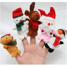5 pcs funny santa claus snowman finger puppets plush toy doll baby