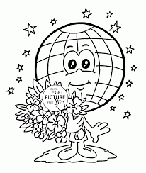cute globe earth day coloring page for kids coloring pages