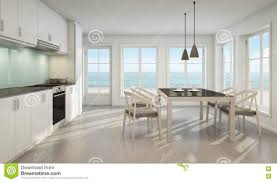 kitchen beach design sea view dining room and kitchen in beach house stock illustration