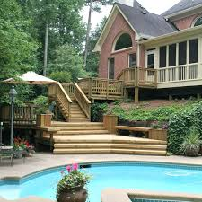 keep it on the deck having a deck around your pool helps keep your