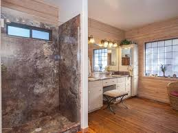 Marble Master Bathroom by Rustic Master Bathroom With Frameless Showerdoor Hardwood Floors