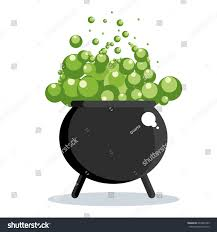 halloween witch pot black witch cauldron green gurgling potion stock vector 694202785