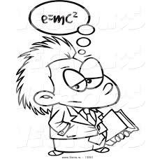 vector cartoon einstein carrying book coloring