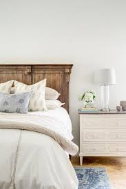 st james panel bed with white and gray dresser as nightstand
