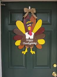 turkey door hanger thanksgiving door hanger handcrafted painted wooden by burt7 30 00