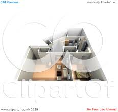 3d home interior clipart illustration of an aerial view of a furnished 3d home
