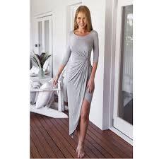 Long Draped Dress Turmec Long Sleeve Maxi Dress Grey