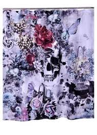 Skull And Crossbones Shower Curtain Sugar Skull Shower Curtain Forevermore Black And White Gothic