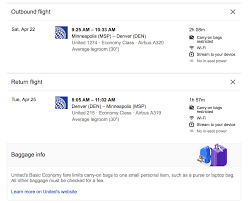 google flights tells you baggage rules on some tickets