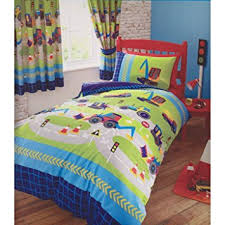 Childrens Duvet Cover Sets Uk Amazon Com Childrens Boys Diggers Truck Duvet Cover Bed Set Navy