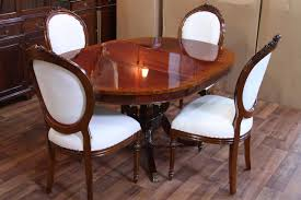 Round Dining Room Tables For 8 by Chair 44 Round Dining Room Table 1 Leaf Lyre Pedestal French Style