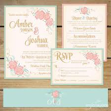 mint wedding invitations printable floral wedding invitation suite diy wedding invite