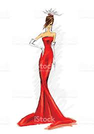 drawing of a woman in a long red dress stock vector art 147011532