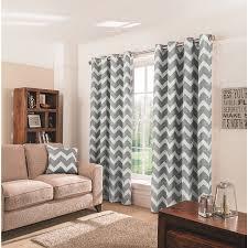 decorating elegant living room design with gray chevron curtains