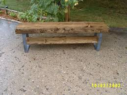 bench wooden bench coffee table industrial and steel