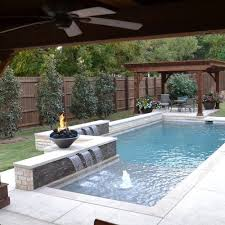 Backyard Pool Pictures Narrow Pool With Tub Firepit Great For Small Spaces In