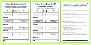 using semicolons colons or dashes to mark boundaries lesson