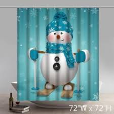 Snowman Curtains Kitchen Funny Print Star Unique Shower Curtains