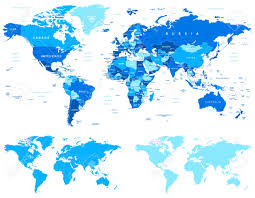 Free Vector World Map by Blue World Map Borders Countries And Cities Illustration