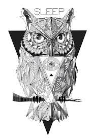 geometric owl on behance tattoos pinterest geometric owl