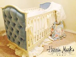 tufted baby crib upholstered velvet hand painted white cream