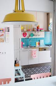 25 colorful kitchens to inspire you pink accents blue tiles and
