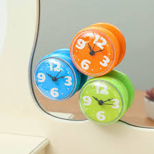 Suction Bathroom Mirror Kitchen Fridge Waterproof Clocks Shower Clocks Mini Wall Clock
