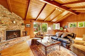 luxury log cabin house interior living room with fireplace and
