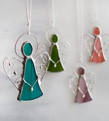 Stained Glass Christmas Window Decorations by Stained Glass Angel Ornaments Little Cute Angels Christmas