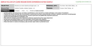 Sample Clerical Resume by Follow Up Clerk Resume Sample