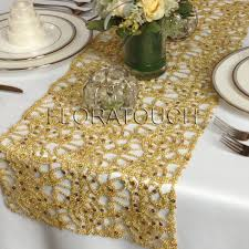 gold table runner and placemats alice metallic lace sequin table runner wedding by floratouch