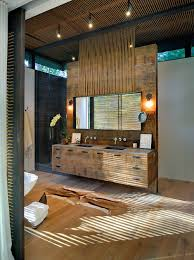Rustic Bathrooms Minimalist Wall Color Combined Rustic Bathrooms Design Brown Wall