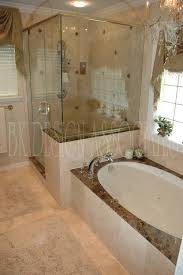 Small House Remodeling Ideas Master Bathroom With Polished Marble Shower And Soaking Bathtub