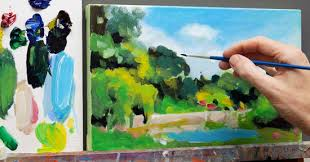 how to mix green acrylics summer landscape painting tutorial