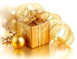 Present Decoration Golden Merry Gift Box Decoration New Year