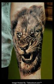 angry lion head tattoo on arm in 2017 real photo pictures