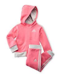 adidas infant girls two piece pink fast fleece sweatsuit