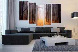 Living Room Wall Art And Decor 5 Piece Artwork Scenery Large Canvas Orange Canvas Wall Art
