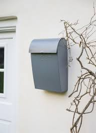 the smart garden post box with lock extra large in charcoal steel garden trading