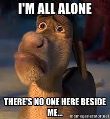 All Alone Meme - i m all alone there s no one here beside me sad donkey all