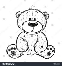 drawing teddy bear isolated on white stock vector 496116529
