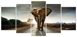amazon com wieco art elephant 5 panels modern giclee canvas